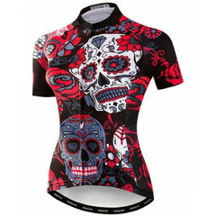Red Skull Cycling Jersey for Women