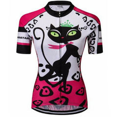 Pink Cat Footstep Cycling Jersey for Women
