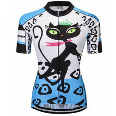Blue Cat Footstep Cycling Jersey for Women