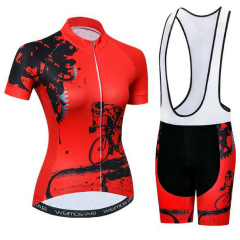 Women's Rider Red Cycling Wear Set
