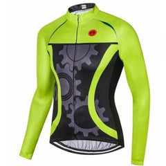 Green Mechanical Long Sleeve Cycling Jersey