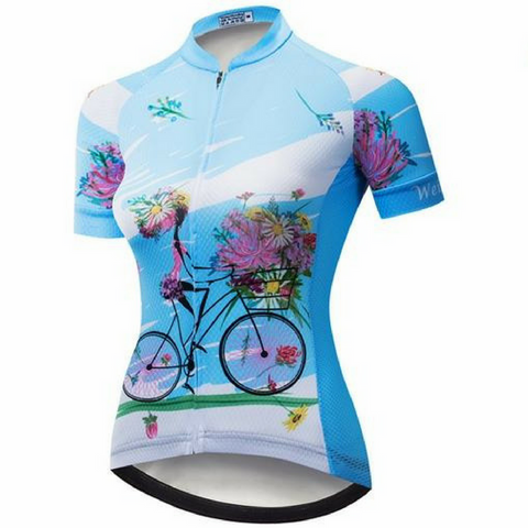 Blue Bicycle Cycling Jersey for Women