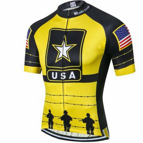 Yellow USA Army Team Cycling Jersey