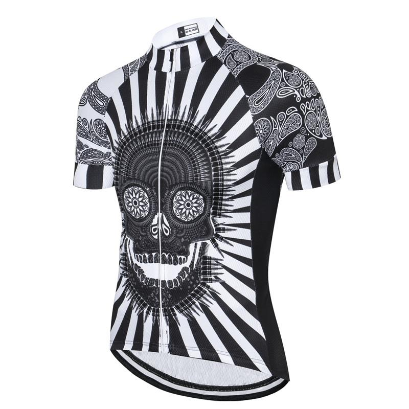 Black & White Skull Cycling Jersey