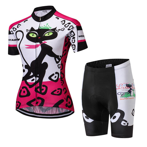 Women's Pink Cat Footstep Cycling Wear Set