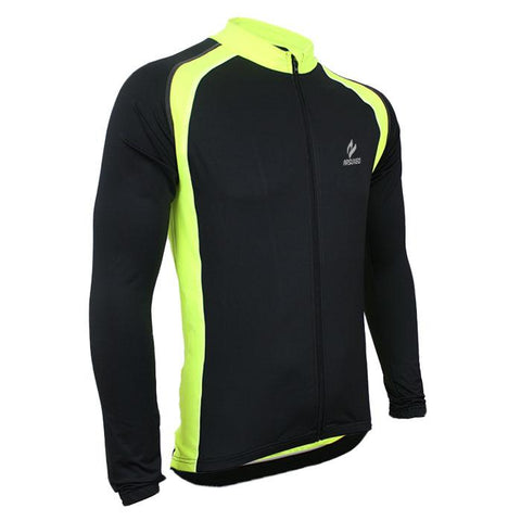Black And Green Long Sleeve Cycling Jersey
