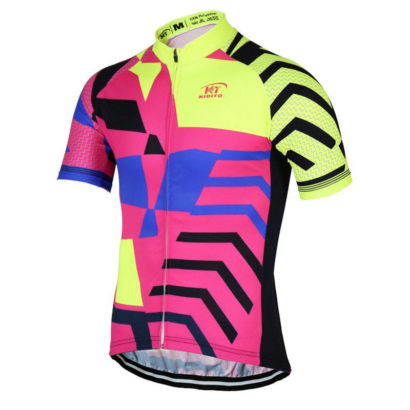 Pink and Yellow Cycling Jersey - The Cycling Fever - 1