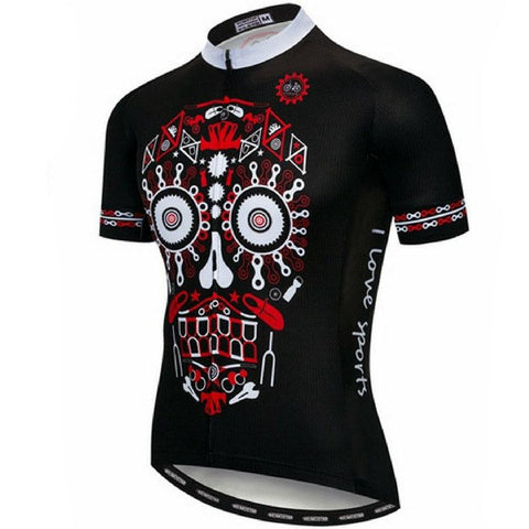 Black Downhill Skull Cycling Jersey