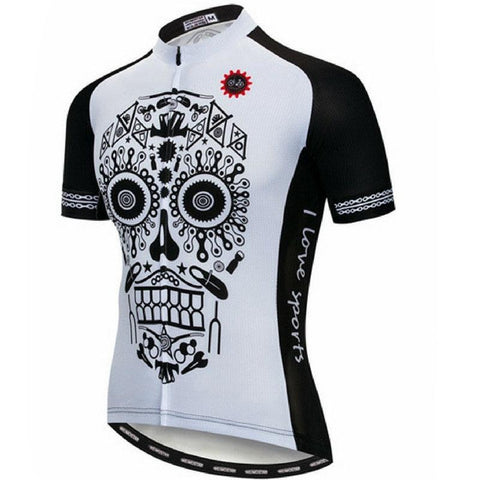 White Downhill Skull Cycling Jersey