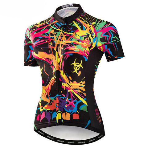 Colorful Skull Cycling Jersey for Women