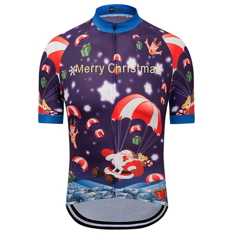 Santa Claus In Parachute Cycling Jersey
