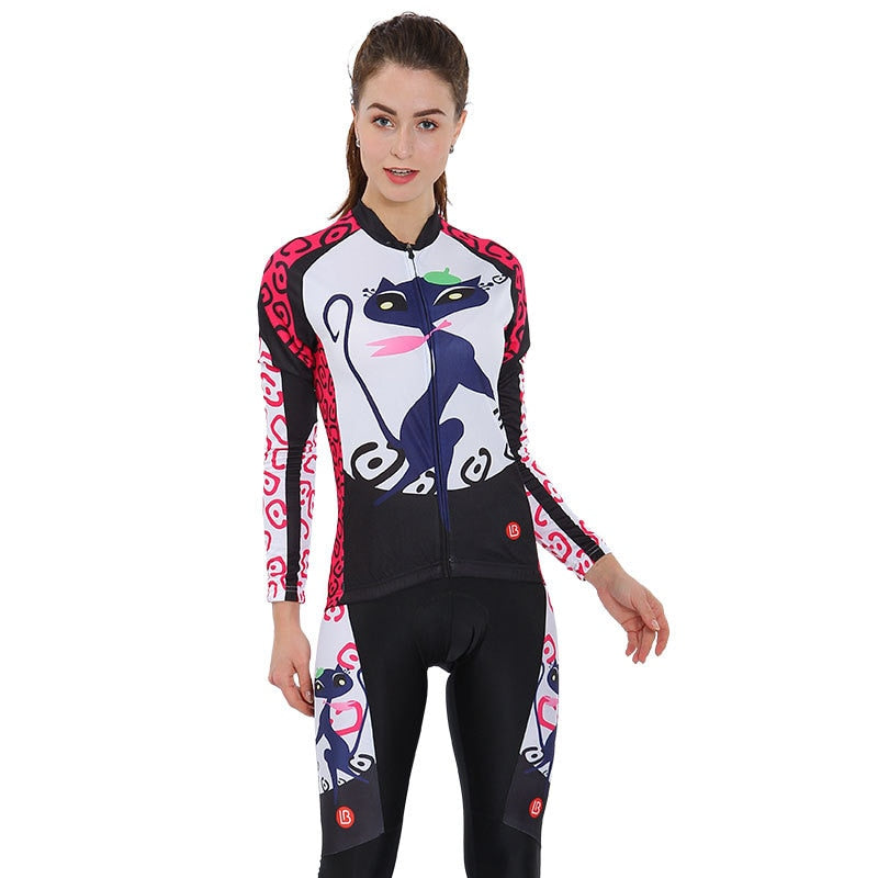 Women's Blue Cat Cycling Wear Set Long Sleeve