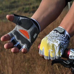 Shockproof Half Finger Cycling Gloves Hexagon 3D GEL - The Cycling Fever - 6