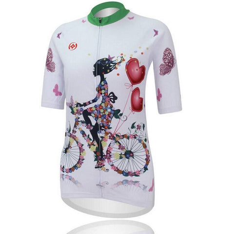Women Cycling Jersey With Hearts