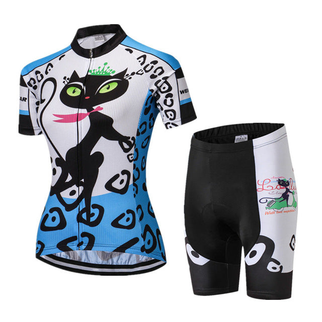 Women's Blue Cat Footstep Cycling Wear Set