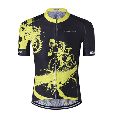 Black & Yellow Bicycle Rider Cycling Jersey