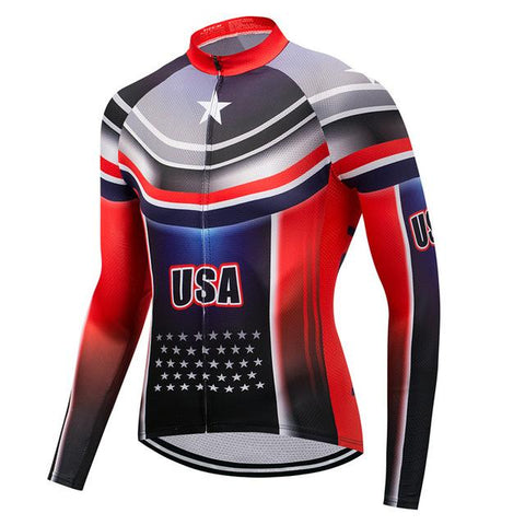 USA Breathable Long Sleeve Cycling Jersey