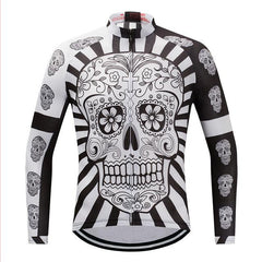 White Skull Long Sleeve Cycling Jersey