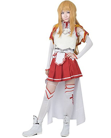 Women's SAO Asuna Yuuki Cosplay Costume with Three-dimensional Breastplate Sword Art Online
