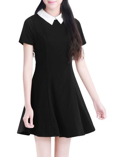 Women Contrast Doll Collar Short Sleeves Flare Dress Black With White Collar Cosplay Costume