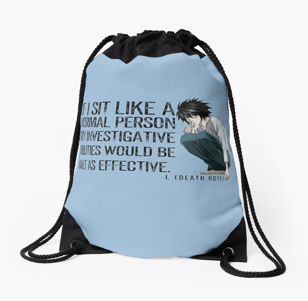 L Death Note Sitting Drawstring Bags