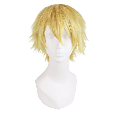 Mens Blonde Cosplay Wig Layered Short Costume Wig Amnesia Toma Fancy Wigs Yellow