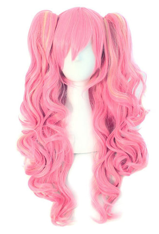 Long Curly Clip on Ponytails Anime Cosplay Wig