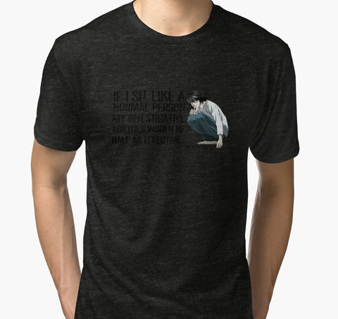 L Death Note Sitting Tri-blend Tshirts