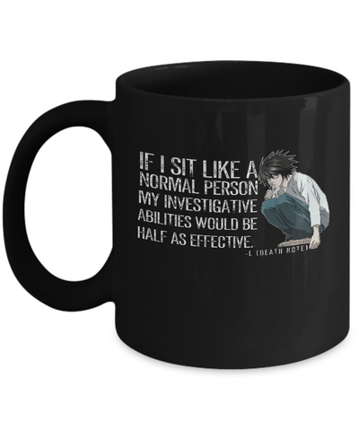 L (Death Note) Quote Mug, Black