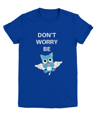 Anime T Shirt Don't Worry Be Happy Blue