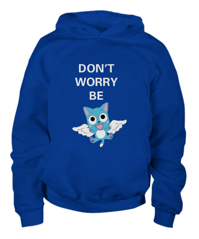 Anime Hoodie Don't Worry Be Happy Blue