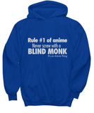 Anime Hoodie Blind Monk Quote Blue