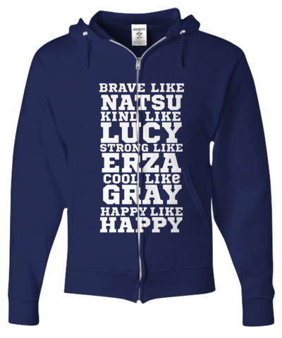 Navy Blue Zipped Fairy Tail Hoodie