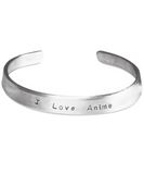 I Love Anime Stamped Metal Bangle