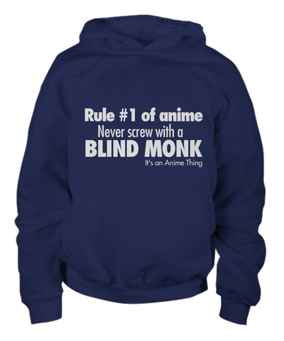Anime Hoodie Blind Monk Navy Blue