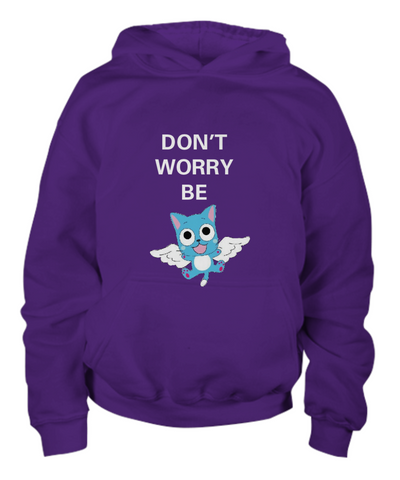Anime Hoodie Don't Worry Be Happy Purple