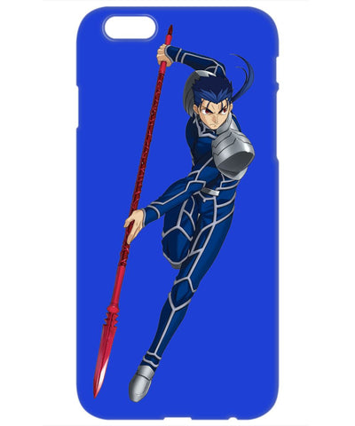 Blue Phone Case With an Anime Warrior Lancer from Fate/Stay Night