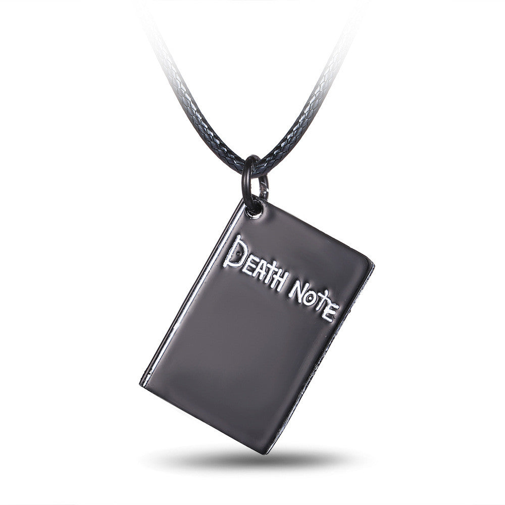 Hot Anime Death Note black book shape pendant & necklace with black leather jewellery