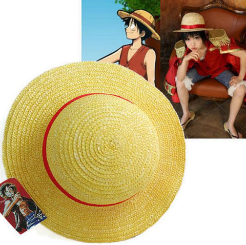 One Piece Luffy Anime Cosplay Straw Boater Beach Hat Cap Halloween