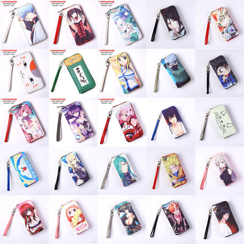 Anime Death Note/Bleach/High School/LoveLive/Fairy Tail/Date A Live/Hatsune Miku etc PU Long Style Purse/Wallet with Zipper