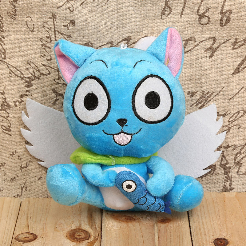 Anime Fairy Tail Happy With Fish Plush Toys Soft Stuffed Dolls Kids Gifts 7