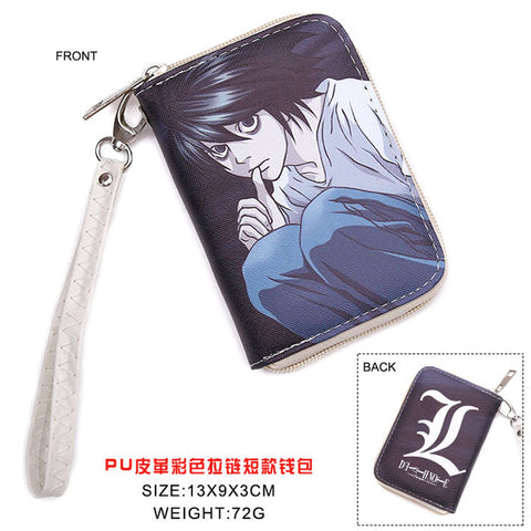 Colorful Japanese Anime Death Note L.Lawliet L Mark PU Short Wallet Purse WIth Zipper