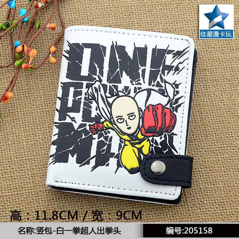 The Skinhead Saitama Sensei PU White Zero Wallet/Anime One Punch Man Coin Purse with Interior Zipper Pocket
