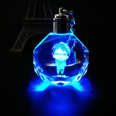 Fancy&Fantasy Anime YURI on ICE Yuri Katsuki Plisetsky Victor Nikiforov Crystal LED Light Pendant Keychain Cosplay