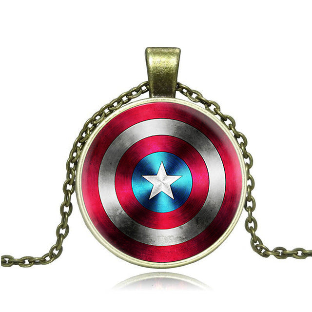 Fashion Anime Coin Necklace Steampunk Alloy The Avengers Captain America Shield Star Glass Art Necklaces& Pendants Men