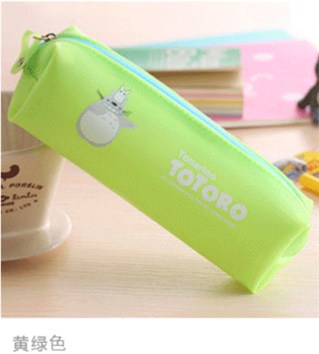 New Cute Kawaii Cartoon Totoro Pencil Case Jelly Glue Japanese Anime Pen Bag for Kids Gift Korean Stationery