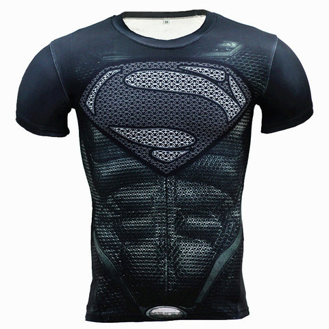 New Fitness Compression Shirt Men Anime Superhero Superman 3D T Shirt Bodybuilding Crossfit tshirt