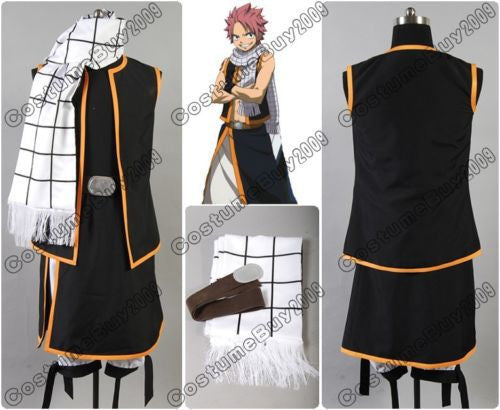 Fairy Tail Natsu Dragneel Anime Halloween Cosplay Costume Custom Made with Scarf