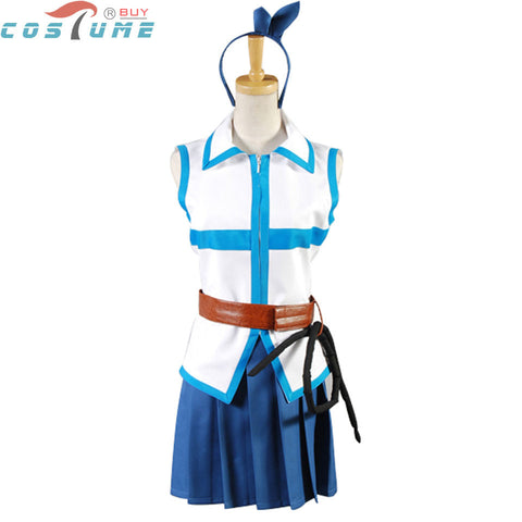 Fairy Tail Lucy Heartphilia Uniform Sleeveless Top Skirt Anime Halloween Cosplay Costumes For Women Custom Made