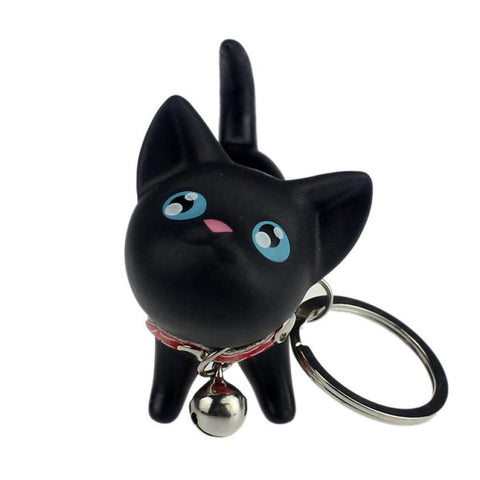 Cat Kitten Keychain Keyring Bell Toy Lover Key Chain Rings For Handbag BK cat Doll key ring Vinyl PU  6*3*5.7 cm Nice accessory
